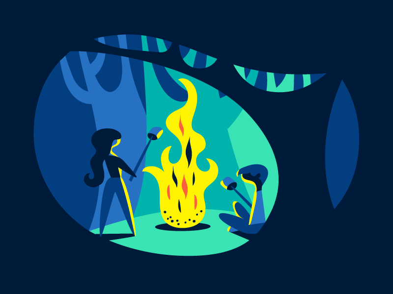 A very big fire trees forest blue marshmallows camp fire summer illustration