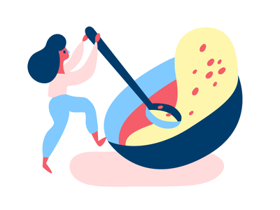 Breakfast of Champions breakfast pink blue sludge oatmeal porridge illustration