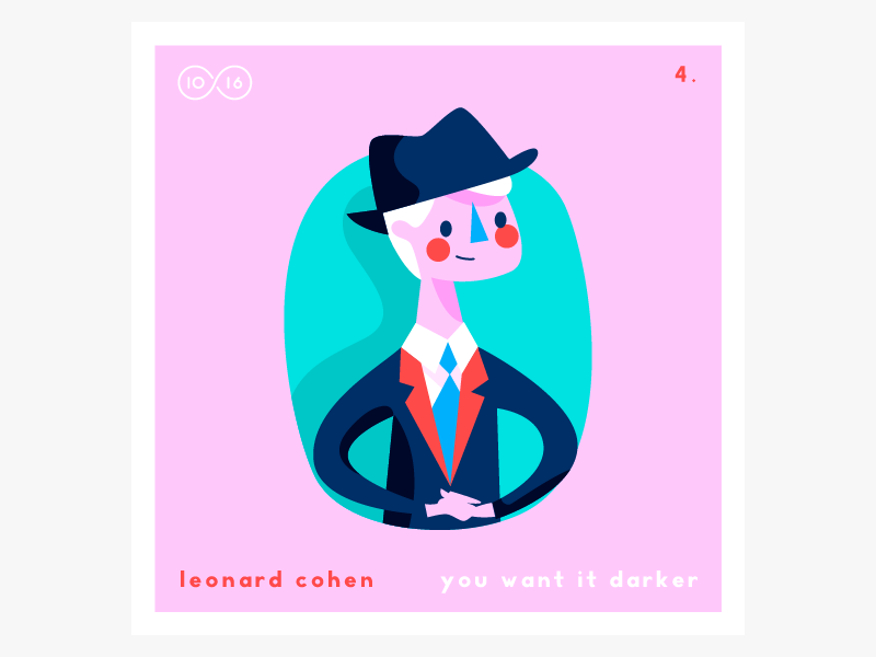 No.4—Leonard Cohen 10x2016 hats! leonard music albums illustration