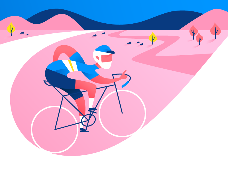 Uphill battle! rapha cycling pink blue bikes