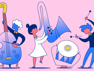 In perfect harmony blue pink harmony music illustration