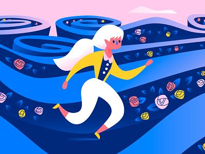 Navigating the maze blue yellow pink maze illustration