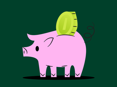 Here's a pigture for you. piggy bank green dolla money pig illustration