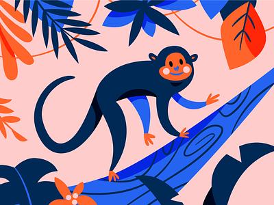 Monkeying Around pink again around monkey illustration