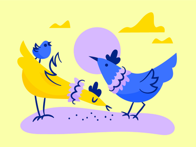 Pecking Order purple food chick chickens illustration