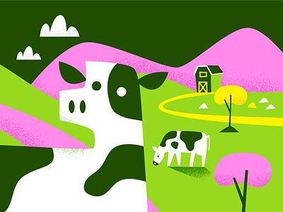Close En-Cow-nter close encounters trees barn cows illustration