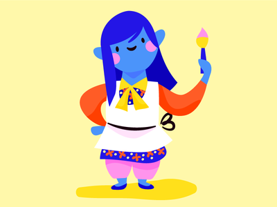 Tiny Painter blue hair being small painting illustration