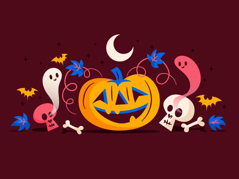 Super spooky pumpkin halloween brown blue pink very spooky pumpkin illustration