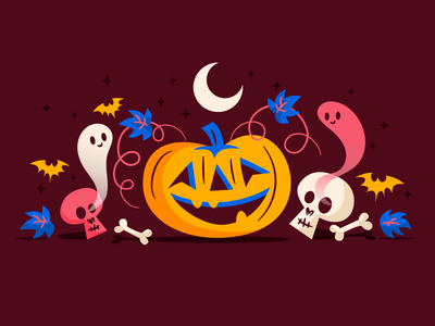 Super spooky pumpkin halloween brown blue pink very spooky pumpkin illustration