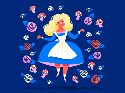 Alice! floating roses wonderland alice illustration