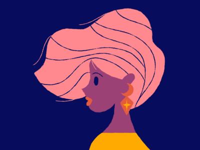 Hairy yellow tee shirt purple pink blue lady hair illustration