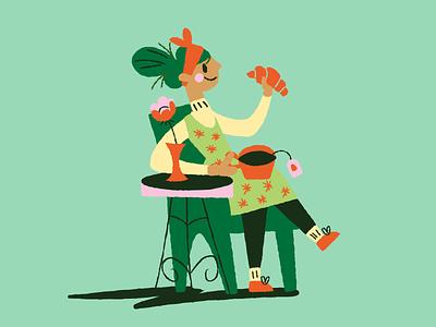 Breakfast time tea breakfast green lady illustration