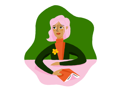 Reading pink hair reading illustration