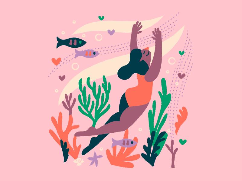 Swimmin' illustratio pink water swimming illustration