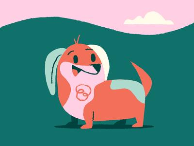 Barky green ears pink barky dogs illustration