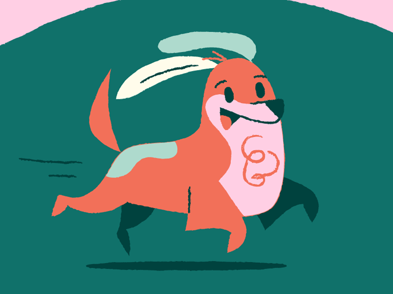 See Barky Run pink dogs running barky illustration