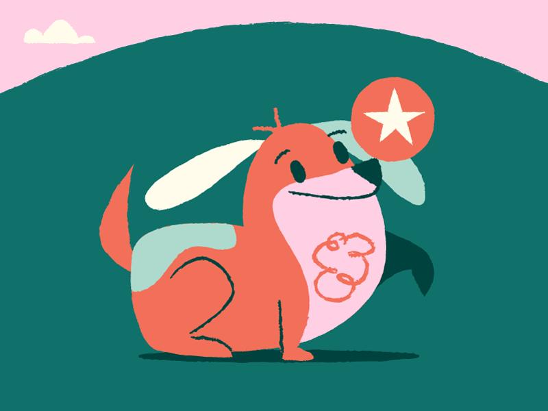 Barky loves his ball pink ball barky illustration