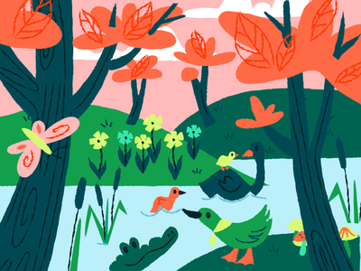 Nature pink sky pink butterfly mushrooms ducks crocodile forest nature bright colors illustration