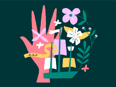 Fortune Telling purple pink green pirates ships flowers hands illustration
