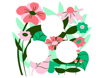 Earth Day! hidden logos green pink plants asana earth nature flowers earth day illustration
