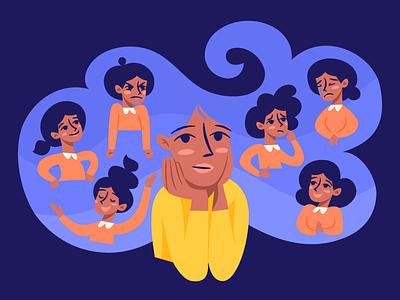 Motherhood illustration agency blue yellow purple frustration excitement joy anger stability emotions illustration