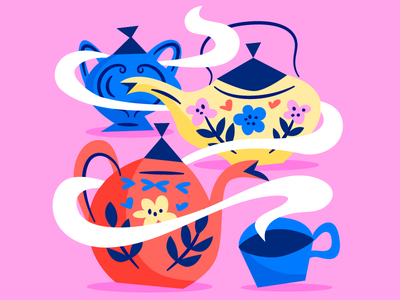 A Mad Tea-Party tea pot tea party blue yellow pink tea alice in wonderland childrens book illustration