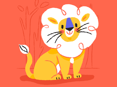 Leo the Lion character animals yellow red childrens book lion leo zodiac illustration