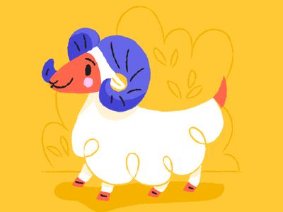 Aries the Ram ram character animals yellow red childrens book zodiac illustration