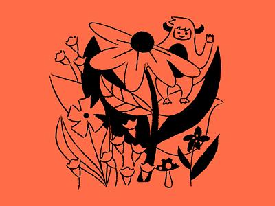 Floral yeti Baggu red floral yeti baggu design illustration
