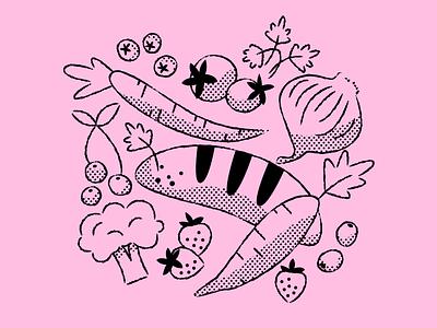 Veggie Baggu illustrations pink grocery veggies baggu illustration