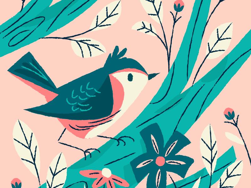 Birdo green blue animals pink bird florals illustration