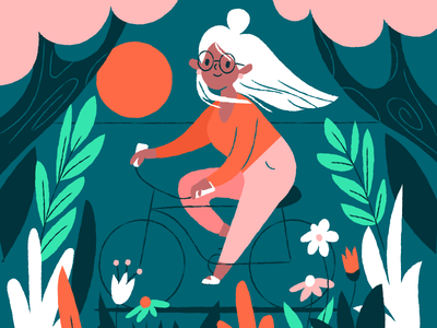 Cycling character sun bike florals cycling summer illustration