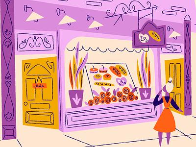 Pastry shop store storefront pretzels bread shop pastry bakery illustration