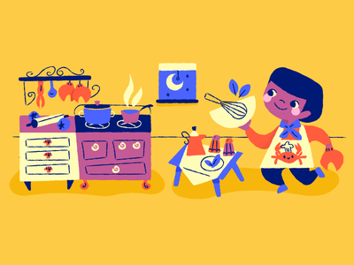 Cooking up cooking kids yellow childrens book illustration