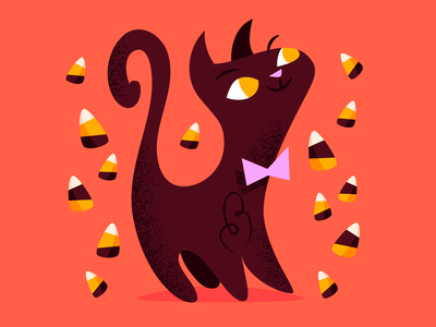Candy corn cat cats brown yellow red candy corn halloween scary kitty illustration