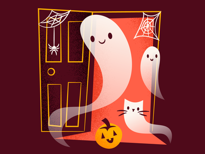 Welcome to my Haunted House orange brown halloween spiders happy ghosts ghoulies ghosties ghost haunted house illustration