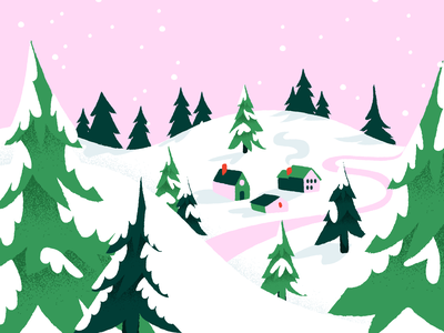 Snow! trees pink snow winter holiday illustration