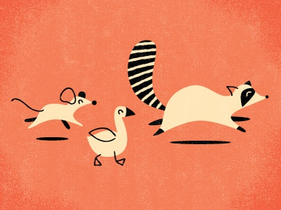 Follow that Tanooki suit! illustration pink raccoon goose mouse basically rodents