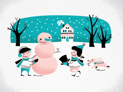 Snow! illustration really just sickeningly cute pink turquoise