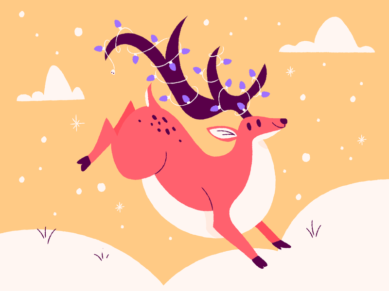 Happy reindeer illustrations holidays snow yellow pink happy reindeer illustration