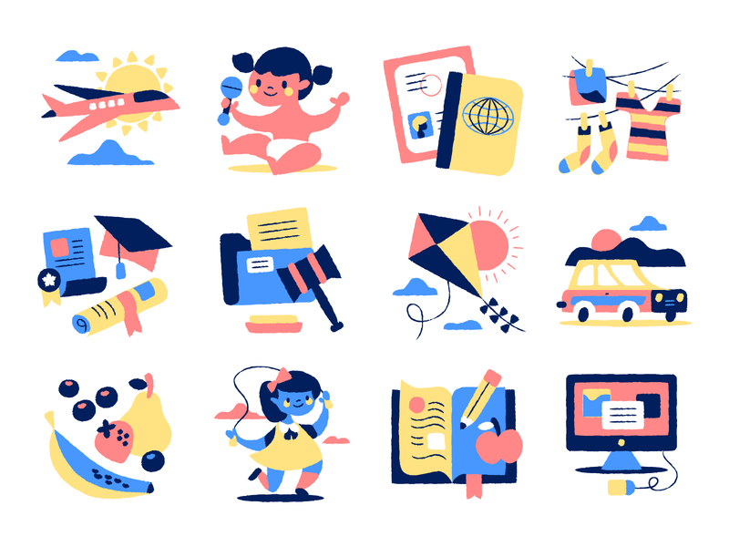 Icons for an Au Pair site computer car clothes passport plane kite yellow blue pink au pair baby icons illustration