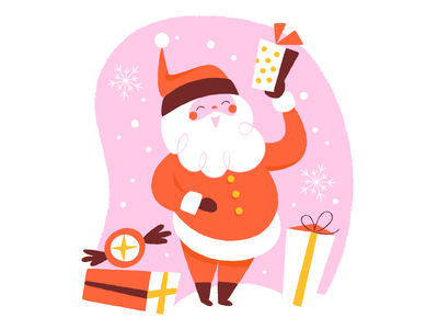 Happy Santa snow gifts christmas holidays santa illustration