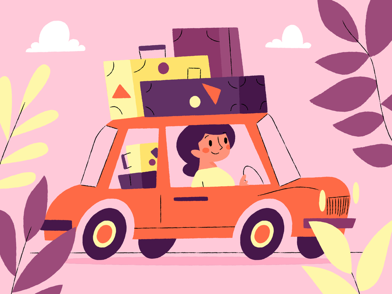 Moving card driving luggage pink car moving illustration
