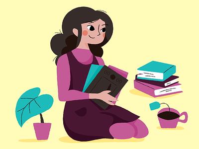 Freelance illustrations work lady houseplants coffee yellow purple freelance illustration