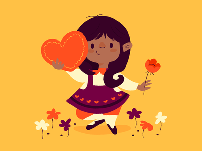 Valentine's Day flowers chocolate kids hearts valentines day illustration