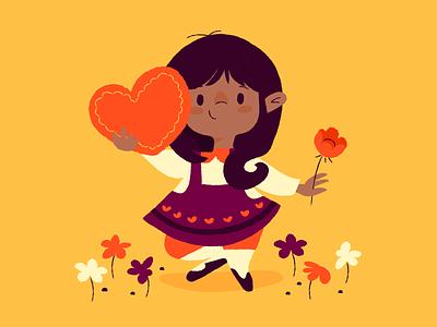 Valentine's Day flowers chocolate kids hearts valentines day illustration
