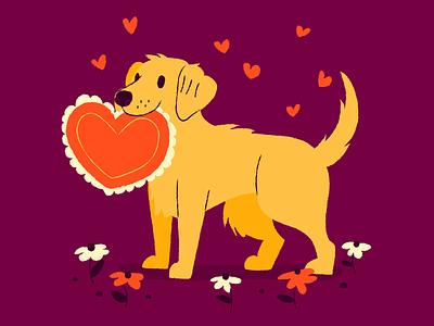Dog Valentine's Day valentine red adopt this dog love hearts dog illustration