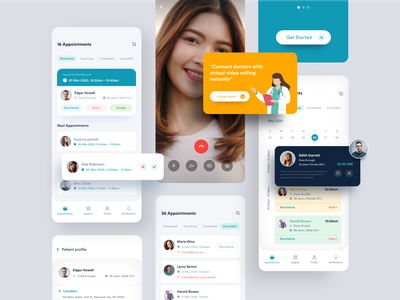 Doctor Appointmens schedule video calls schedules card design virtual video video calling minimal design landing page app design medial bookings appointments doctor