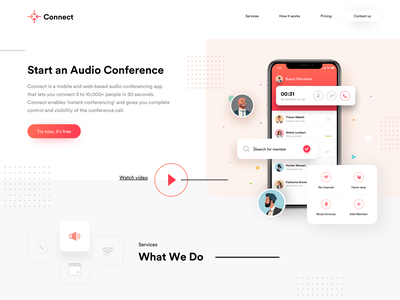 Audio Conference app design calling app conference calls schedule calls calling features on call features audio confernce conference app concalls bulk calling conference audio call calling