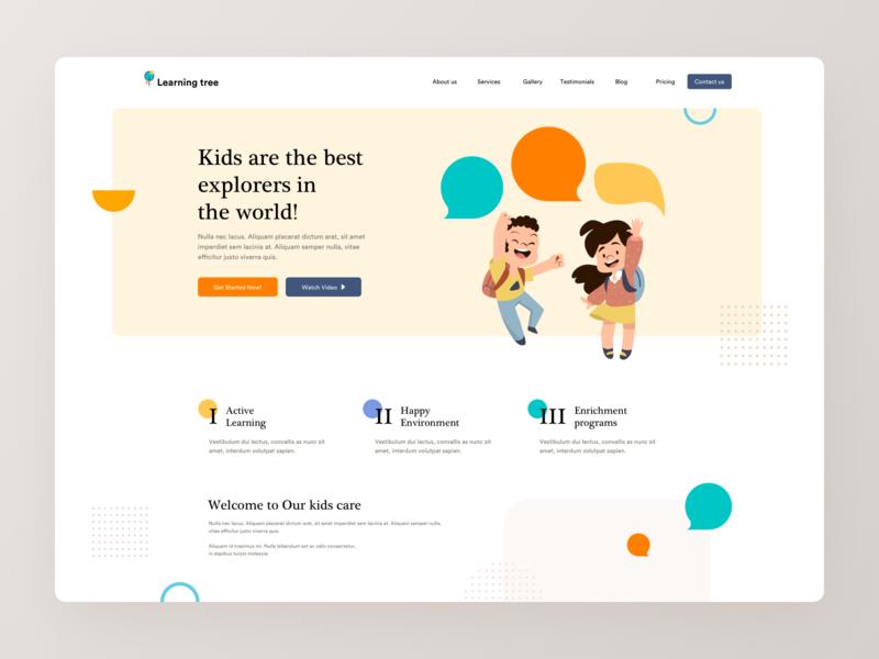 Play School Website learning kids pre school school school website ui design illustration landingpage minimal design